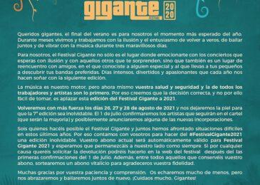 El Festival Gigante también se aplaza a 2021.