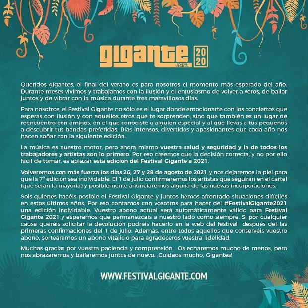 Cancelado Festival Gigante 2020