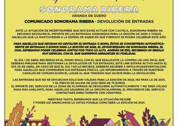Sonorama Ribera anuncia devolución de las entradas de 2021