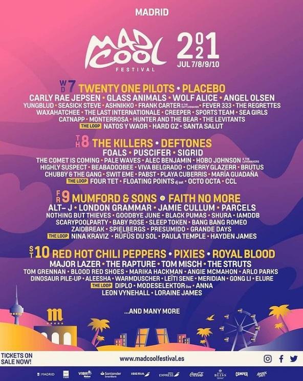 Primer avance del cartel del Mad Cool Festival 2021