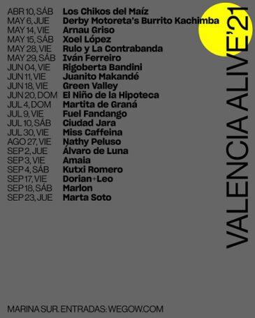 Valencia Alive 2021, nuevo ciclo de concierto en la Marina de Valencia