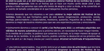 Cancelado el Festival de los Sentidos 2021