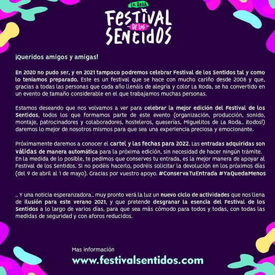 Cancelado Festival de los Sentidos 21