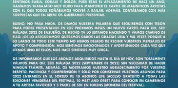 Oh See Fest de Málaga también se aplaza a 2022