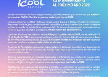 Mad Cool Festival aplaza su 5ª edición a 2022