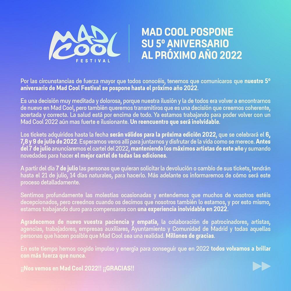 Aplazado Mad Cool Festival