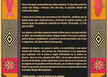 Cancelado el festival madrileño Rio Babel 2021